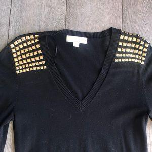 Michael kores dress black gold stud shoulders